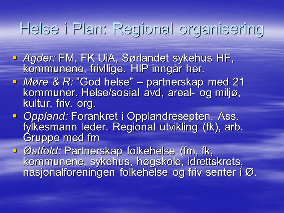 Helse i Plan: Regional organisering  Agder: FM, FK UiA, Sørlandet sykehus HF, kommunene, frivllige.
