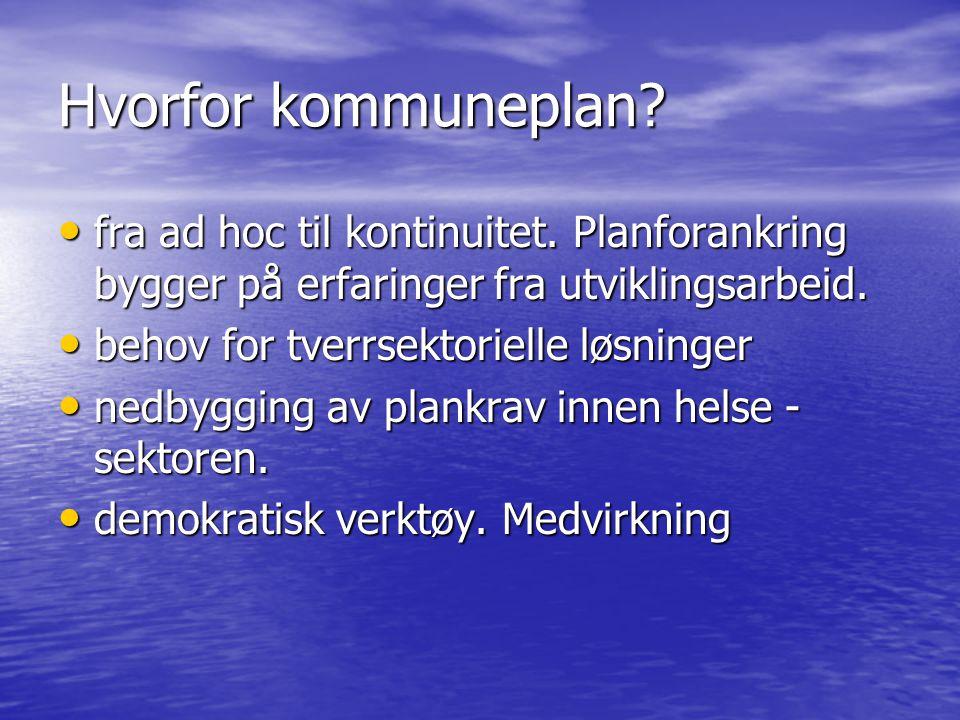 Hvorfor kommuneplan. • fra ad hoc til kontinuitet.