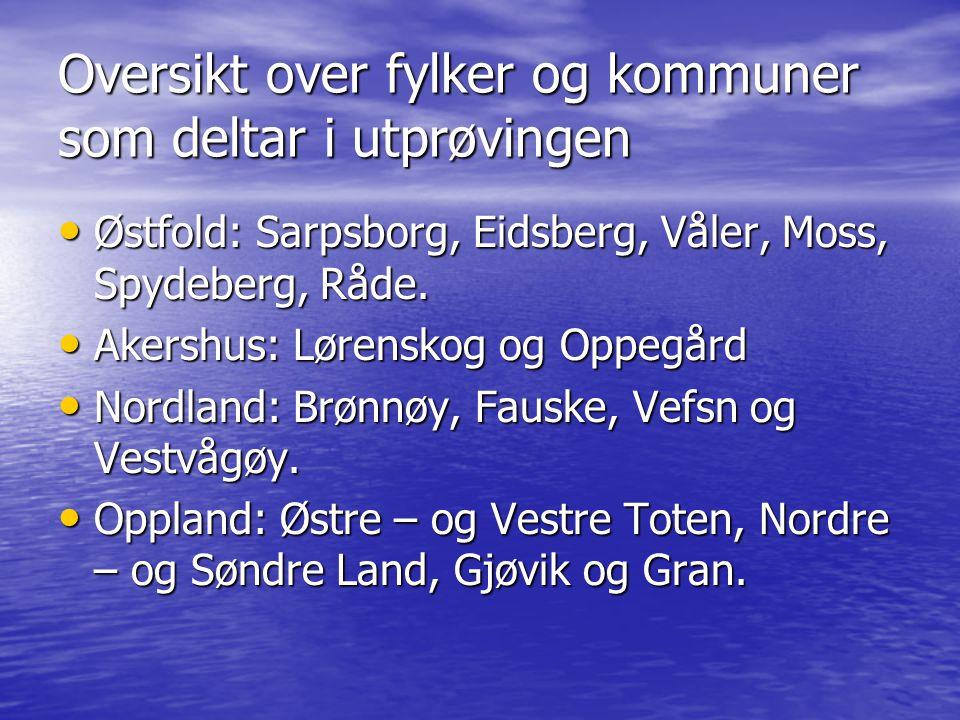 Oversikt over fylker og kommuner som deltar i utprøvingen • Østfold: Sarpsborg, Eidsberg, Våler, Moss, Spydeberg, Råde.