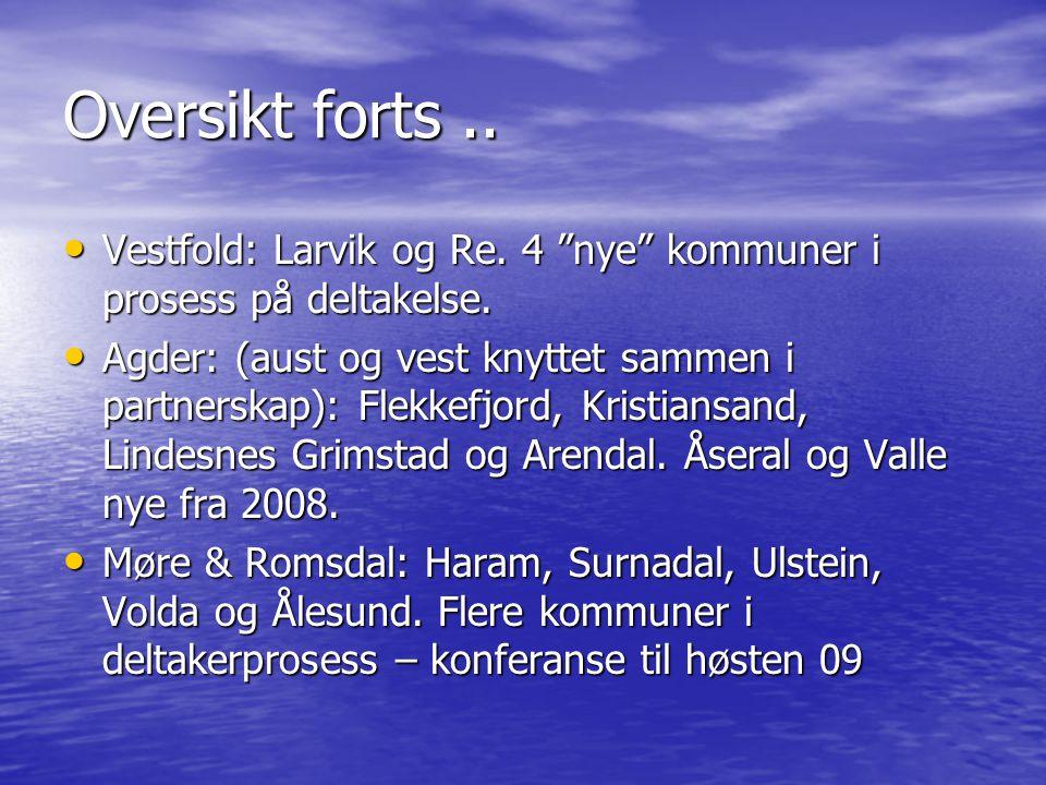 Oversikt forts..• Vestfold: Larvik og Re. 4 nye kommuner i prosess på deltakelse.