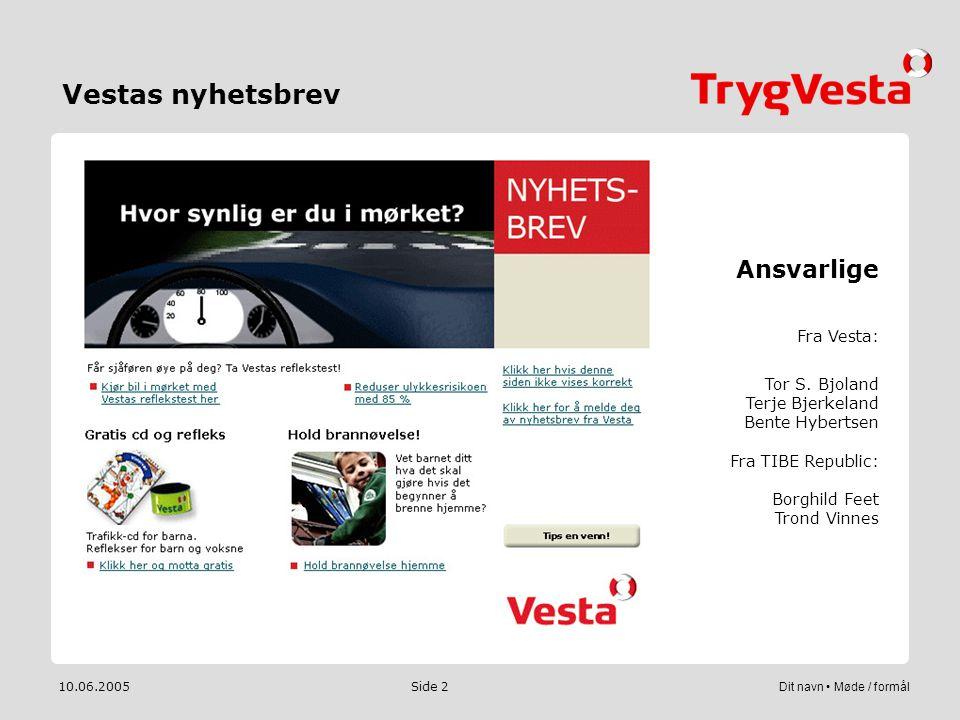 10.06.2005Dit navn • Møde / formål Side 2 Vestas nyhetsbrev Ansvarlige Fra Vesta: Tor S. Bjoland Terje Bjerkeland Bente Hybertsen Fra TIBE Republic: B