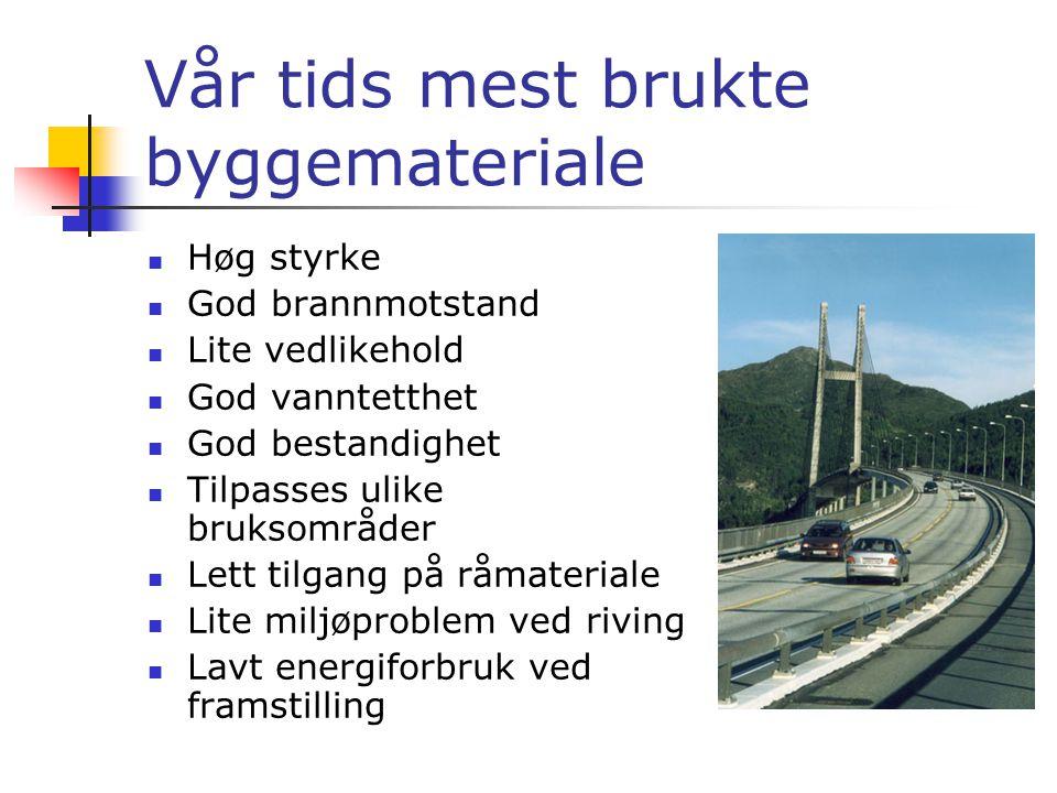  På slutten av 1800-talet kom sement og betongen til Norge.  I dag er sement og betongen eit av dei mest populære byggemateriala.