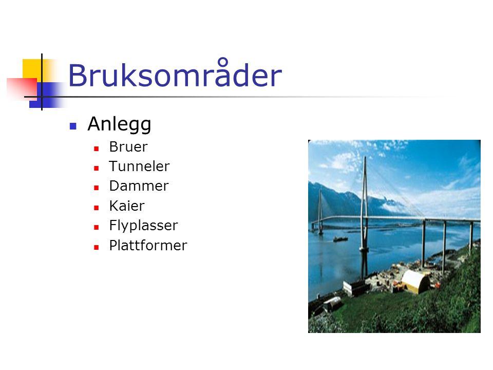 Bruksområder  Anlegg  Bruer  Tunneler  Dammer  Kaier  Flyplasser  Plattformer