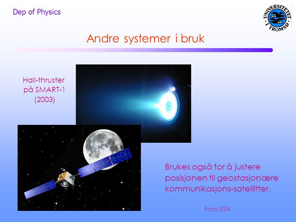 Dep of Physics Andre systemer i bruk Hall-thruster på SMART-1 (2003) Brukes også for å justere posisjonen til geostasjonære kommunikasjons-satellitter