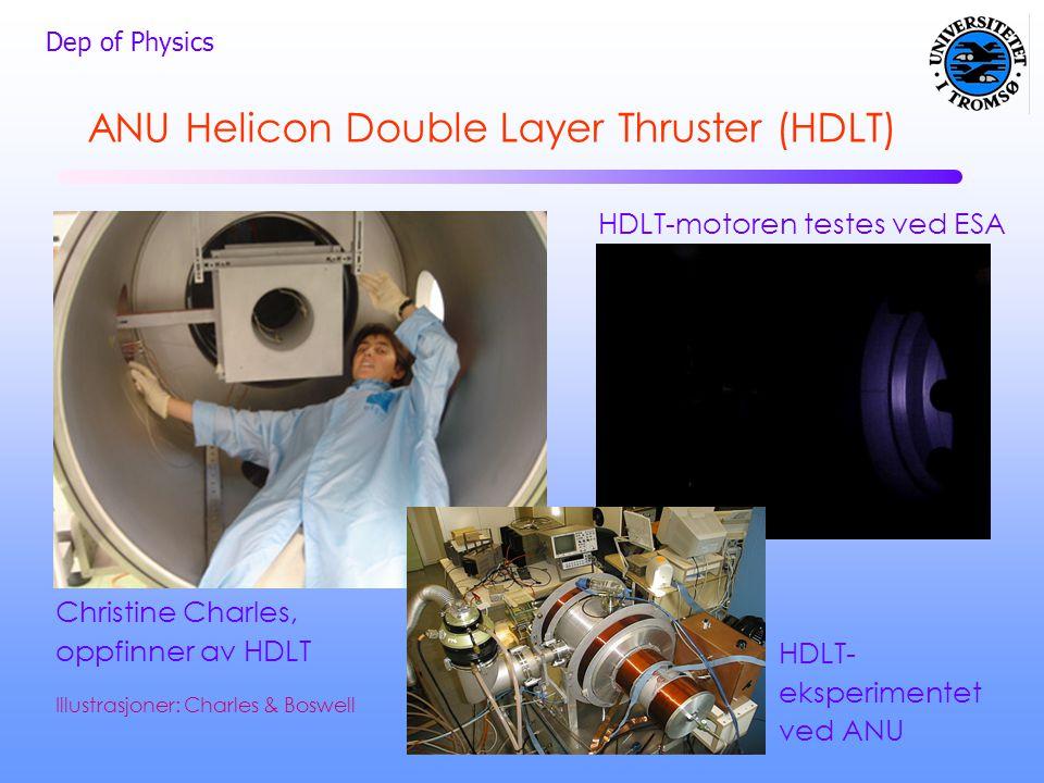 Dep of Physics HDLT-motoren testes ved ESA Christine Charles, oppfinner av HDLT ANU Helicon Double Layer Thruster (HDLT) HDLT- eksperimentet ved ANU I