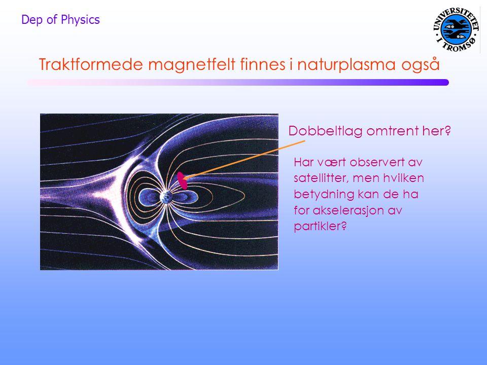 Dep of Physics Traktformede magnetfelt finnes i naturplasma også Dobbeltlag omtrent her? Har vært observert av satellitter, men hvilken betydning kan