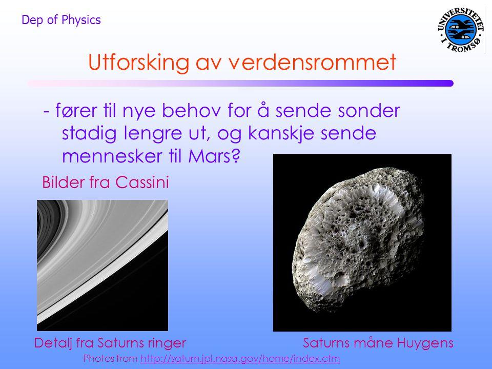 Dep of Physics Utforsking av verdensrommet - fører til nye behov for å sende sonder stadig lengre ut, og kanskje sende mennesker til Mars? Saturns mån