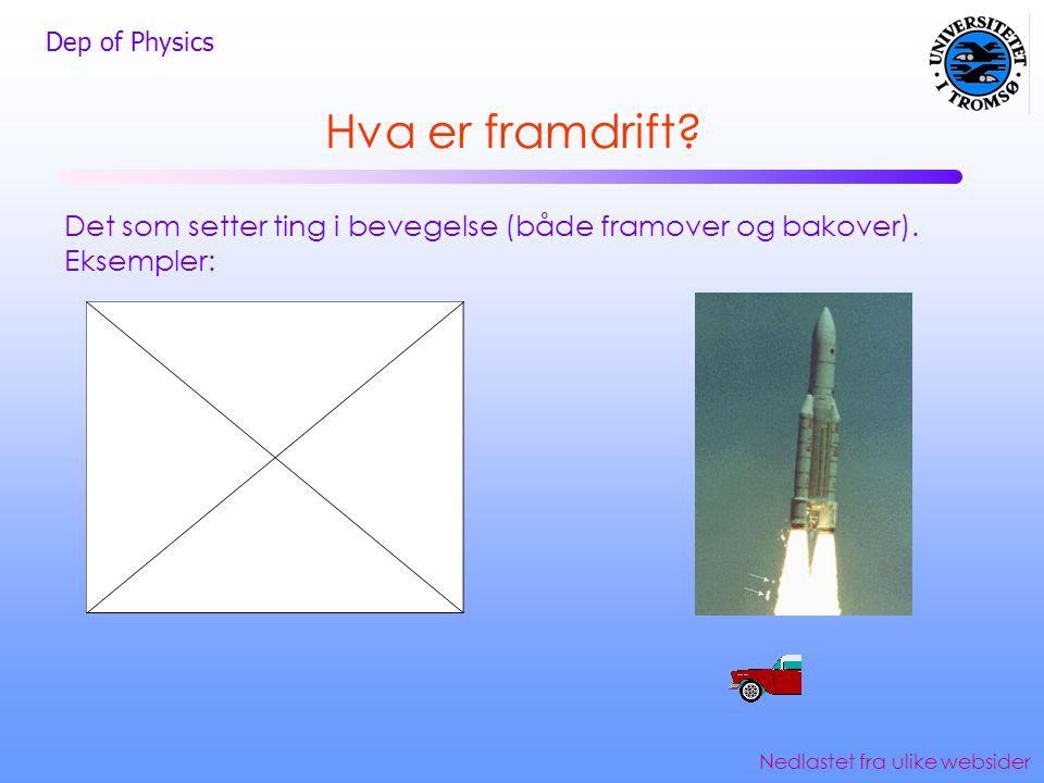 Dep of Physics Hva er framdrift? Det som setter ting i bevegelse (både framover og bakover). Eksempler: Nedlastet fra ulike websider