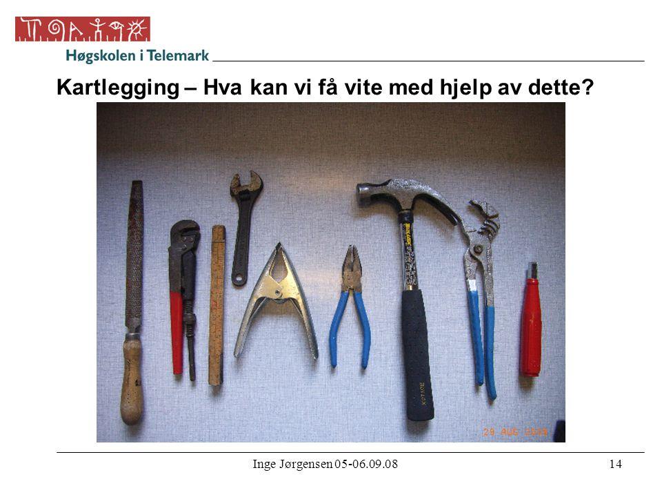 Inge Jørgensen 05-06.09.0814 Kartlegging – Hva kan vi få vite med hjelp av dette?