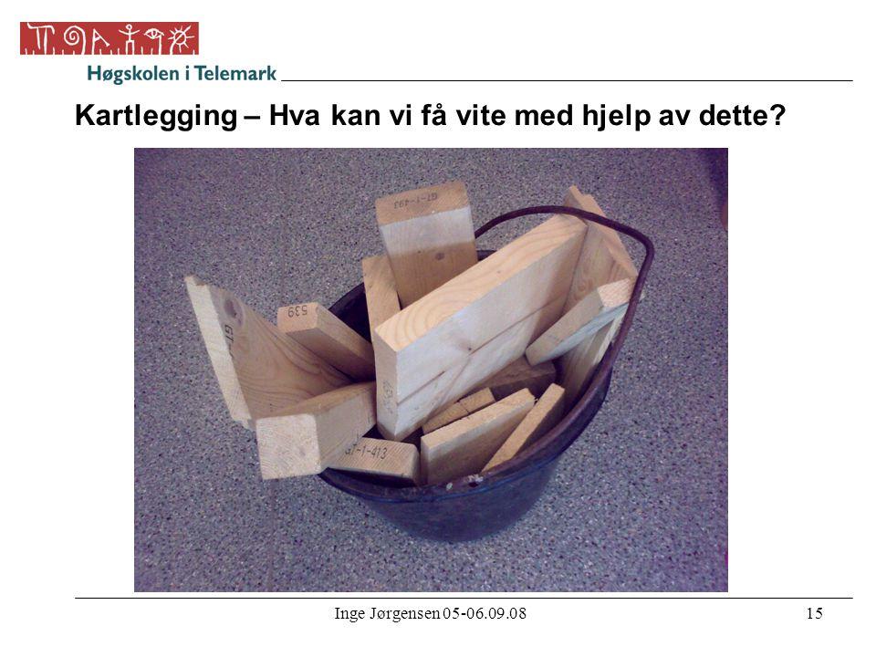 Inge Jørgensen 05-06.09.0815 Kartlegging – Hva kan vi få vite med hjelp av dette?