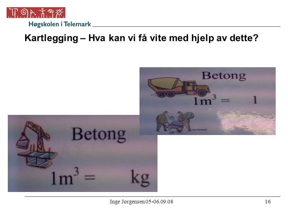 Inge Jørgensen 05-06.09.0816 Kartlegging – Hva kan vi få vite med hjelp av dette?
