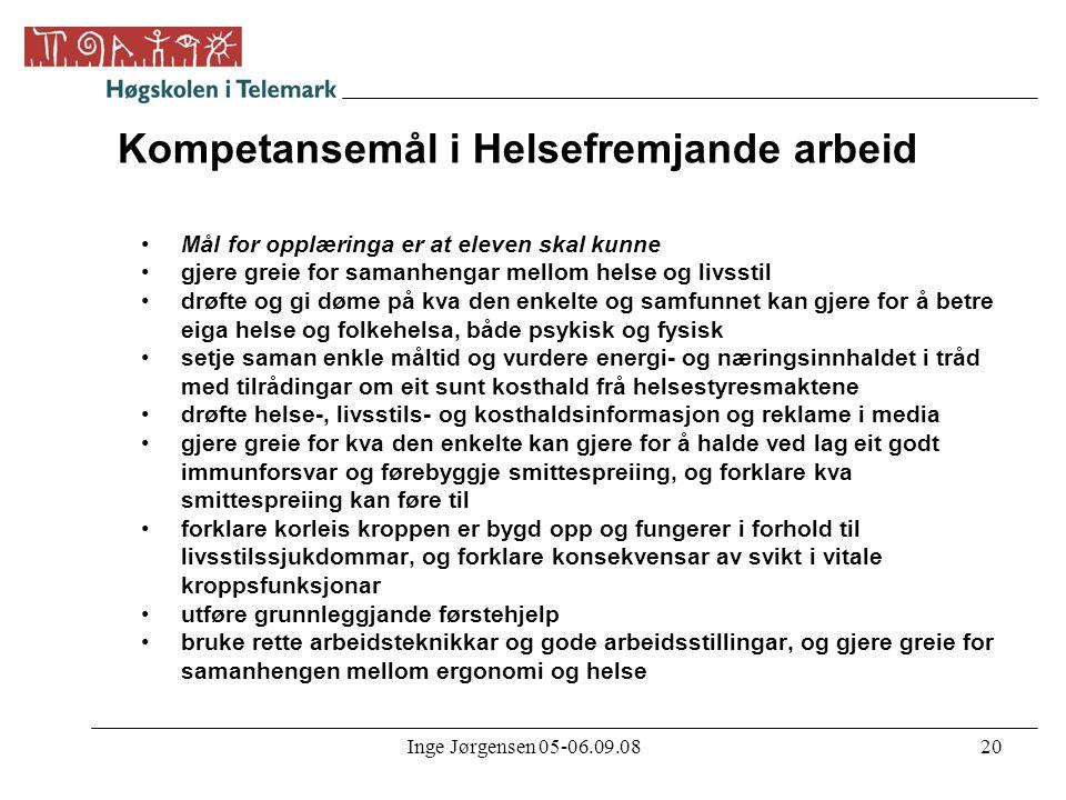 Inge Jørgensen 05-06.09.0820 Kompetansemål i Helsefremjande arbeid •Mål for opplæringa er at eleven skal kunne •gjere greie for samanhengar mellom hel