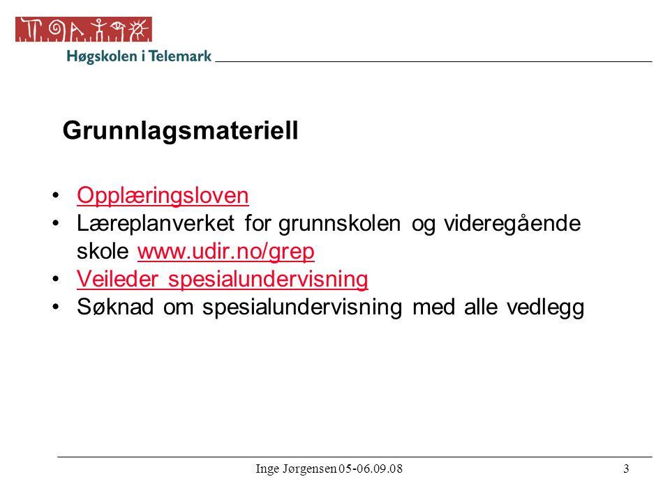 Inge Jørgensen 05-06.09.083 Grunnlagsmateriell •OpplæringslovenOpplæringsloven •Læreplanverket for grunnskolen og videregående skole www.udir.no/grepw