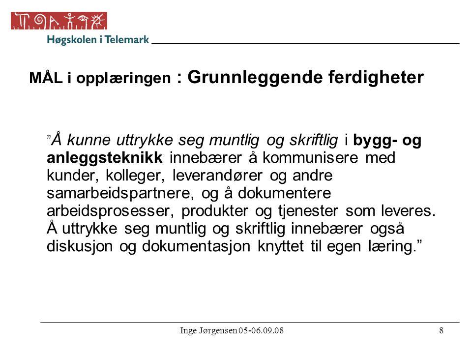 """Inge Jørgensen 05-06.09.088 MÅL i opplæringen : Grunnleggende ferdigheter """" Å kunne uttrykke seg muntlig og skriftlig i bygg- og anleggsteknikk innebæ"""