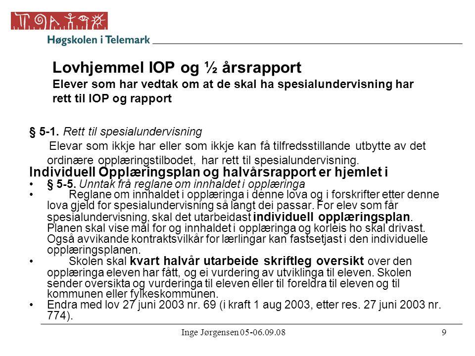 Inge Jørgensen 05-06.09.089 Lovhjemmel IOP og ½ årsrapport Elever som har vedtak om at de skal ha spesialundervisning har rett til IOP og rapport § 5-
