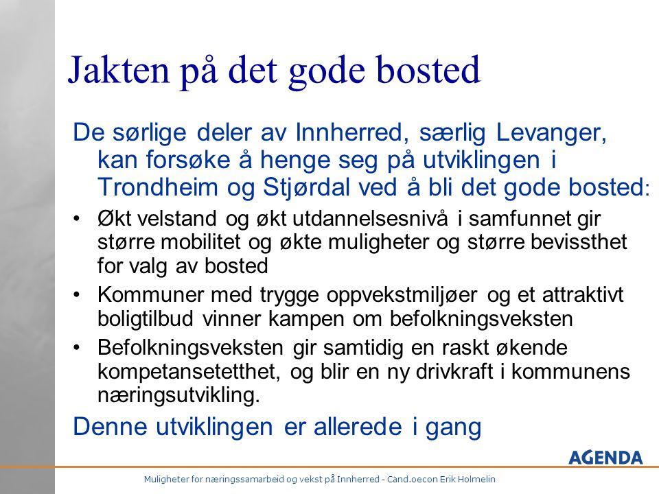 Muligheter for næringssamarbeid og vekst på Innherred - Cand.oecon Erik Holmelin Jakten på det gode bosted De sørlige deler av Innherred, særlig Levan