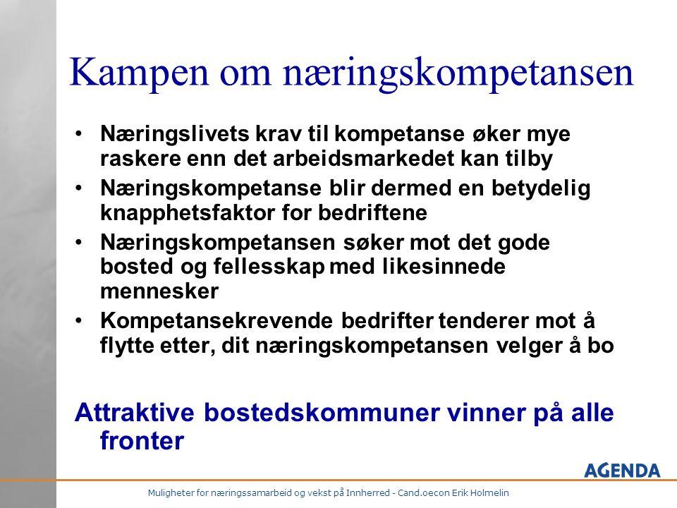 Muligheter for næringssamarbeid og vekst på Innherred - Cand.oecon Erik Holmelin Kampen om næringskompetansen •Næringslivets krav til kompetanse øker