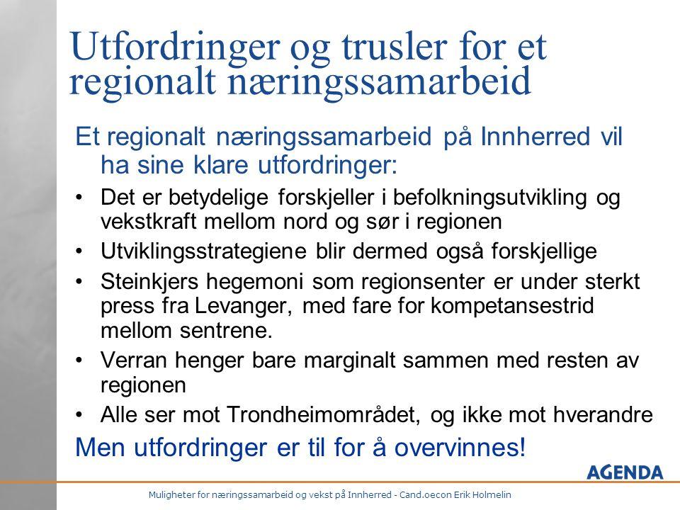 Muligheter for næringssamarbeid og vekst på Innherred - Cand.oecon Erik Holmelin Utfordringer og trusler for et regionalt næringssamarbeid Et regional