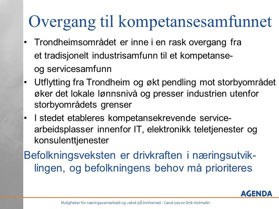 Muligheter for næringssamarbeid og vekst på Innherred - Cand.oecon Erik Holmelin Overgang til kompetansesamfunnet •Trondheimsområdet er inne i en rask