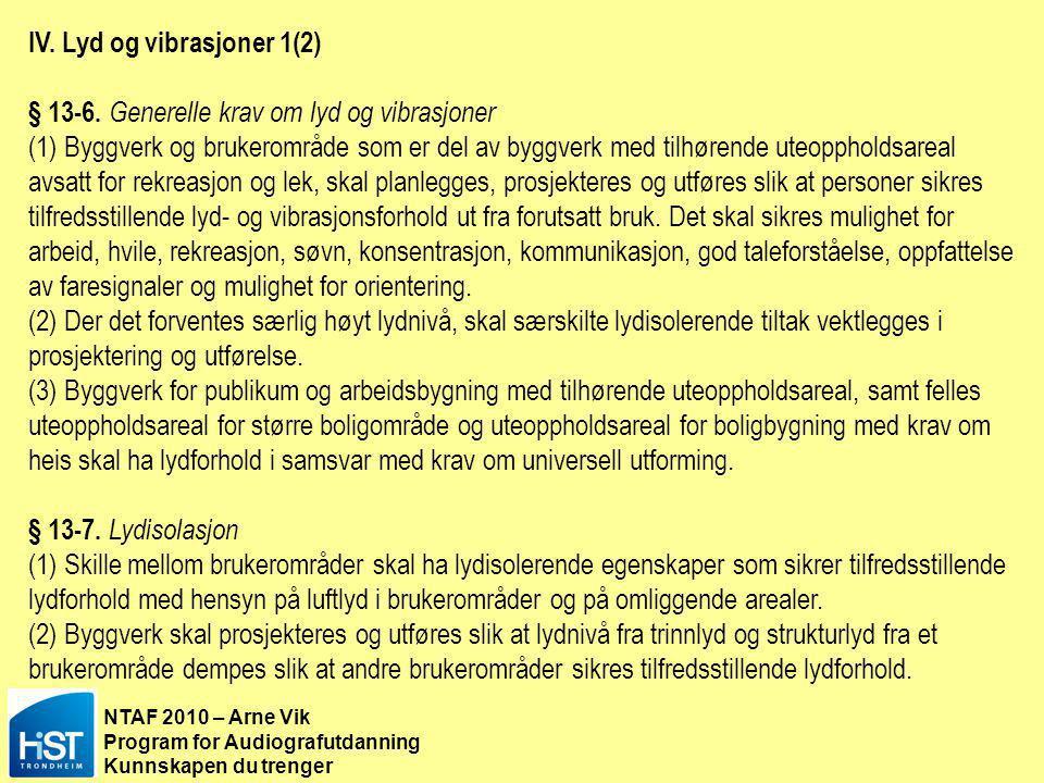 NTAF 2010 – Arne Vik Program for Audiografutdanning Kunnskapen du trenger IV. Lyd og vibrasjoner 1(2) § 13-6. Generelle krav om lyd og vibrasjoner (1)