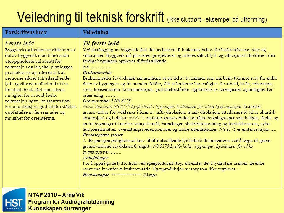 NTAF 2010 – Arne Vik Program for Audiografutdanning Kunnskapen du trenger Veiledning til teknisk forskrift (ikke sluttført - eksempel på utforming) §8