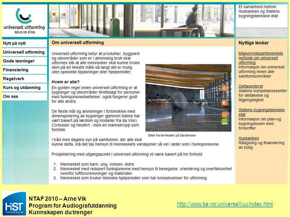 NTAF 2010 – Arne Vik Program for Audiografutdanning Kunnskapen du trenger NS8175 Lydforhold i bygninger PÅGÅENDE REVISJON MED HENSYN TIL UU ULIKE BYGNINGS- OG ROMTYPER: Klasserom T < 0,4 sek (alle oktavbånd) Undervisningslandskap T < 0,4 sek – STI.