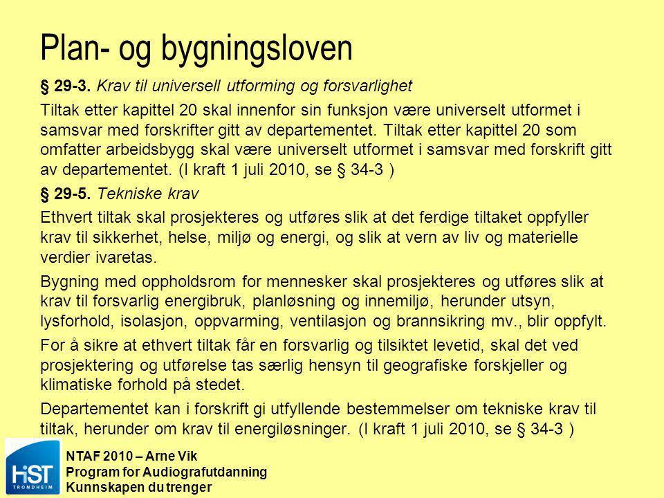 NTAF 2010 – Arne Vik Program for Audiografutdanning Kunnskapen du trenger Ny Teknisk forskrift TEK2010 http://www.lovdata.no/cgi-wift/ldles?doc=/sf/sf/sf-20100326-0489.html