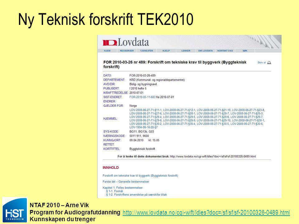NTAF 2010 – Arne Vik Program for Audiografutdanning Kunnskapen du trenger Ny Teknisk forskrift TEK2010 http://www.lovdata.no/cgi-wift/ldles?doc=/sf/sf