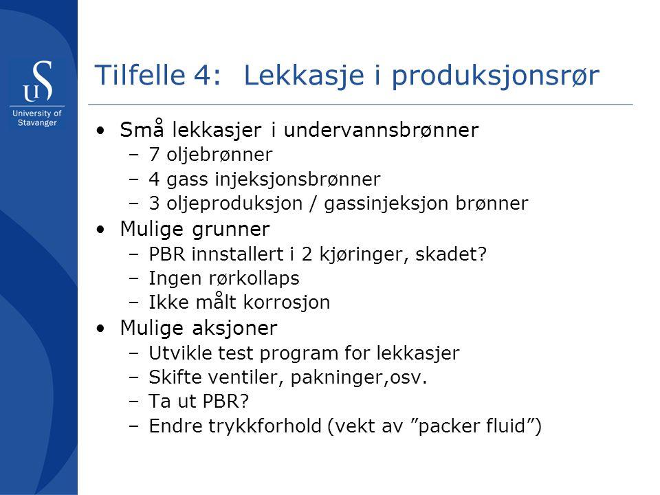Tilfelle 4: Lekkasje i produksjonsrør •Små lekkasjer i undervannsbrønner –7 oljebrønner –4 gass injeksjonsbrønner –3 oljeproduksjon / gassinjeksjon br