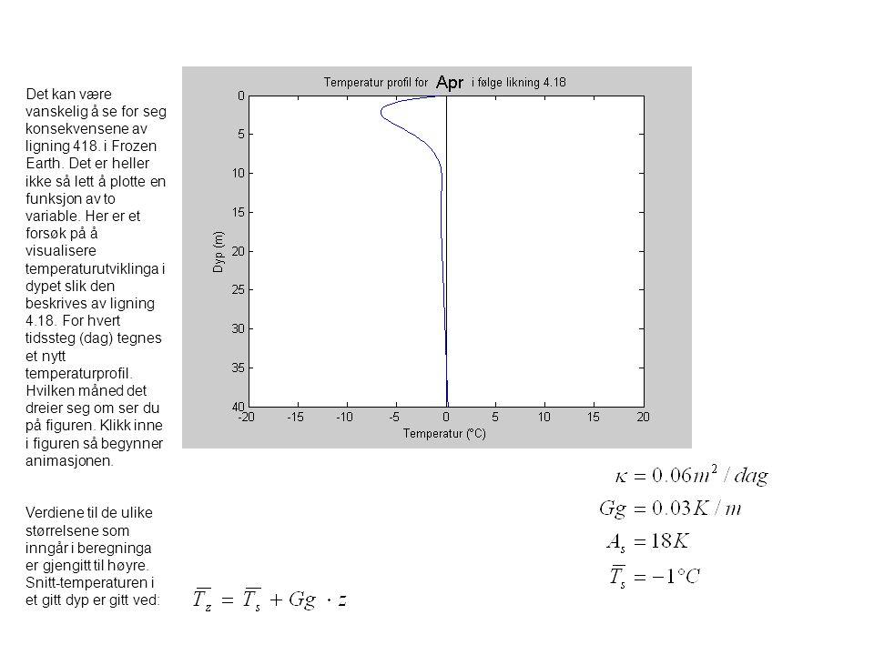 Hint til oppgave 2 Kuldemagasinet er produktet av varmekapasitet, tetthet og arealet under temperaturprofilet Enheter: Arealet under temperaturprofilet kan finnes ved å telle ruter i figuren.