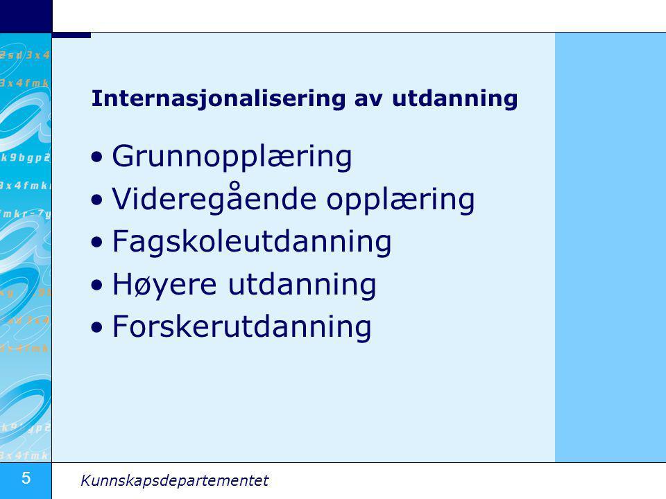 5 Kunnskapsdepartementet Internasjonalisering av utdanning •Grunnopplæring •Videregående opplæring •Fagskoleutdanning •Høyere utdanning •Forskerutdann