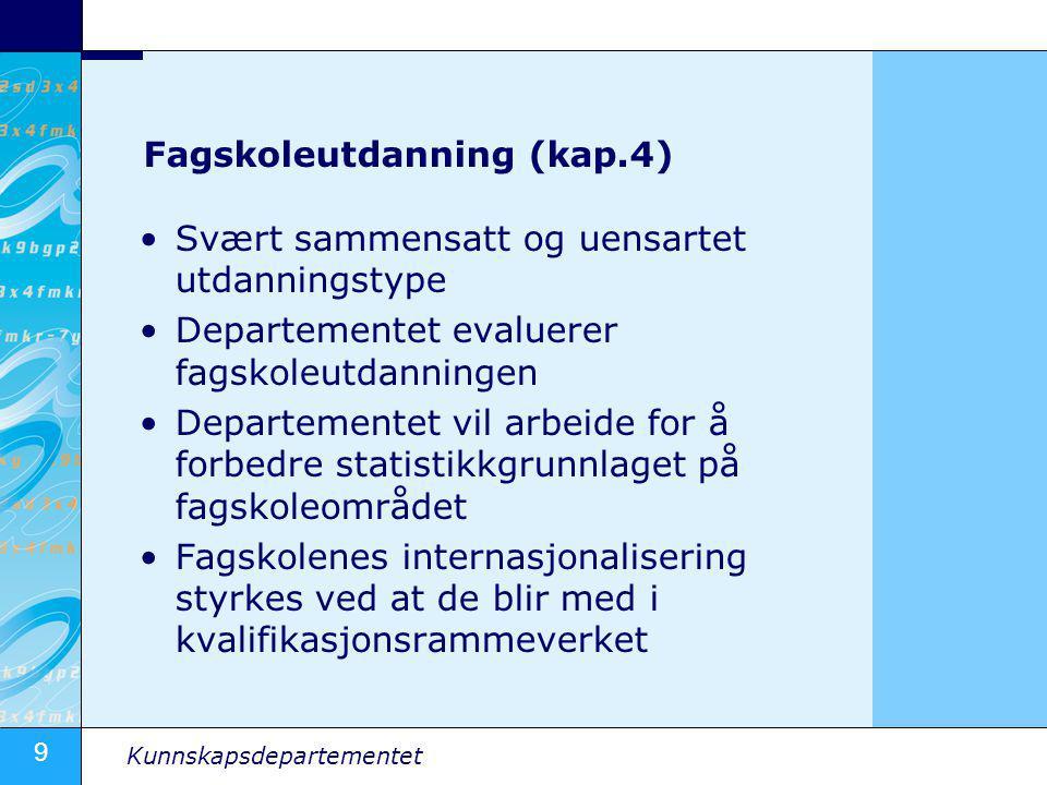 10 Kunnskapsdepartementet Høyere utdanning (kap.
