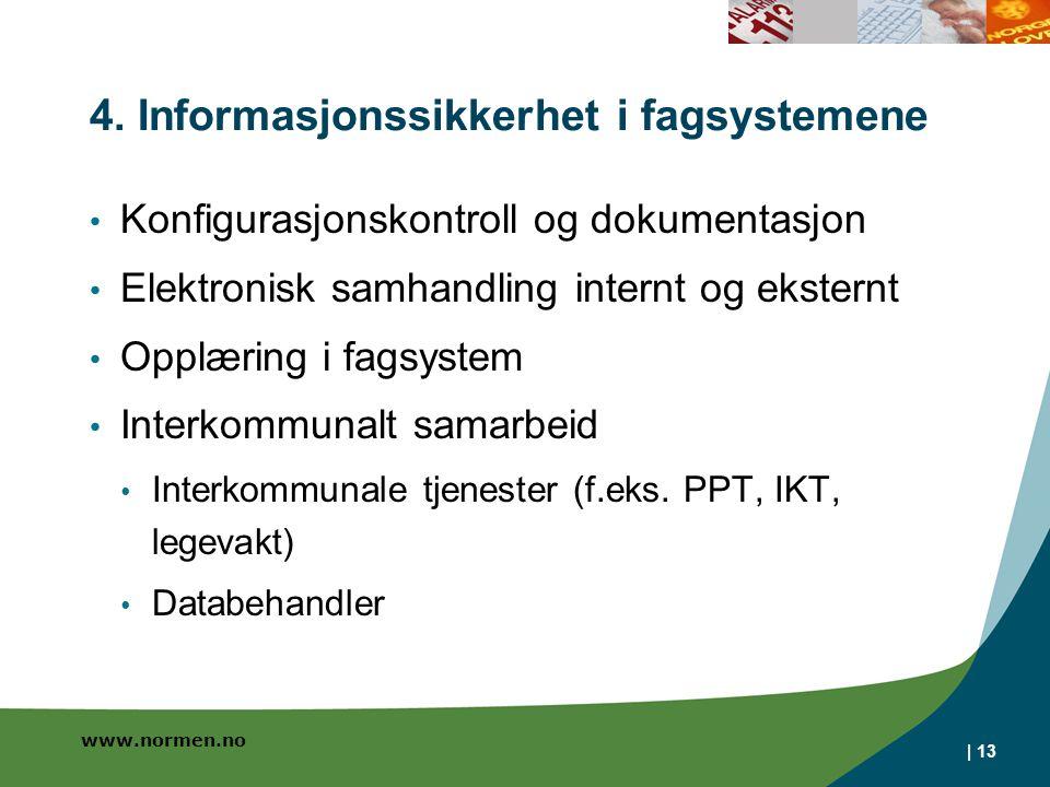 www.normen.no | 13 4. Informasjonssikkerhet i fagsystemene • Konfigurasjonskontroll og dokumentasjon • Elektronisk samhandling internt og eksternt • O