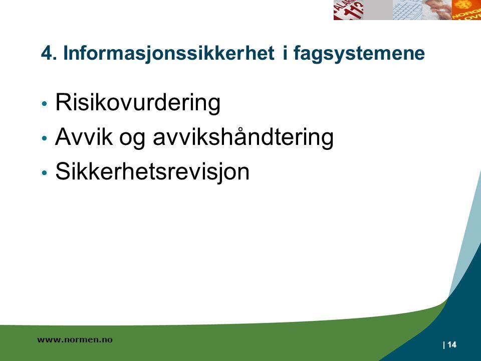 www.normen.no | 14 4. Informasjonssikkerhet i fagsystemene • Risikovurdering • Avvik og avvikshåndtering • Sikkerhetsrevisjon
