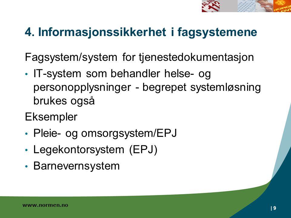 www.normen.no | 9 4. Informasjonssikkerhet i fagsystemene Fagsystem/system for tjenestedokumentasjon • IT-system som behandler helse- og personopplysn