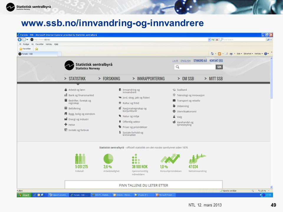 NTL 12. mars 2013 49 www.ssb.no/innvandring-og-innvandrere