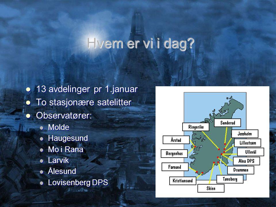 Hvem er vi i dag?  13 avdelinger pr 1.januar  To stasjonære satelitter  Observatører:  Molde  Haugesund  Mo i Rana  Larvik  Ålesund  Lovisenb