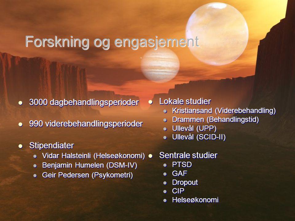 Forskning og engasjement  3000 dagbehandlingsperioder  990 viderebehandlingsperioder  Stipendiater  Vidar Halsteinli (Helseøkonomi)  Benjamin Hum