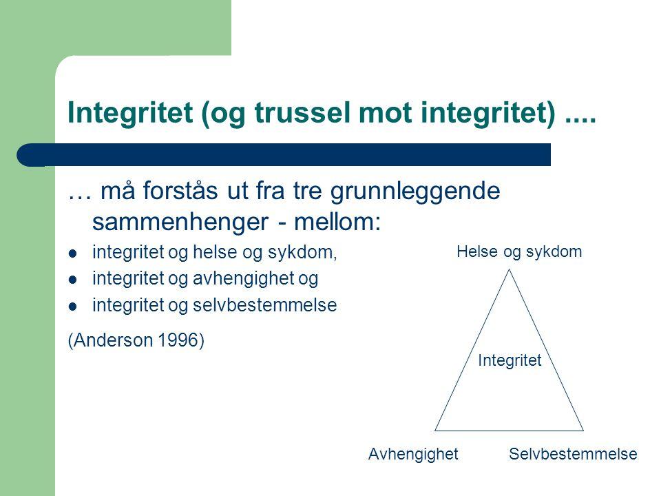 Integritet (og trussel mot integritet).... … må forstås ut fra tre grunnleggende sammenhenger - mellom:  integritet og helse og sykdom,  integritet