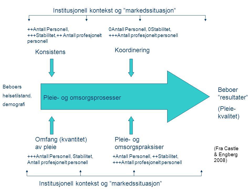 """Konsistens Koordinering Omfang (kvantitet) av pleie Pleie- og omsorgspraksiser Pleie- og omsorgsprosesser Beboer """"resultater"""" (Pleie- kvalitet) ++Anta"""