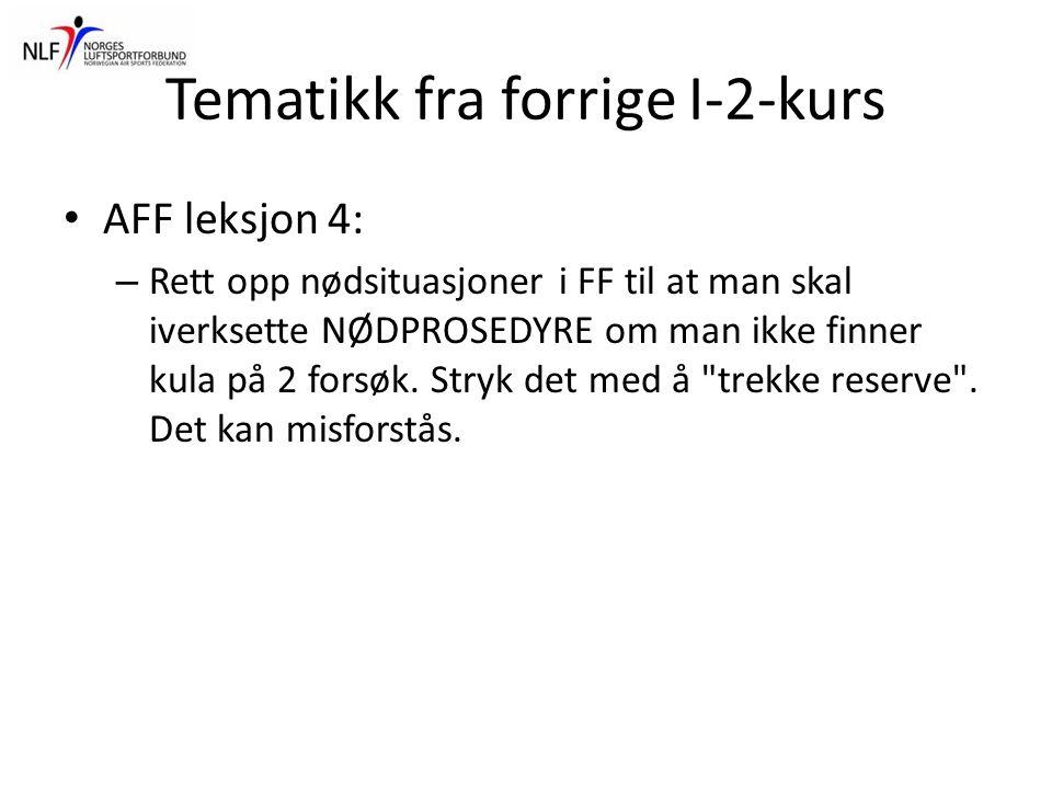 Tematikk fra forrige I-2-kurs • AFF leksjon 4: – Rett opp nødsituasjoner i FF til at man skal iverksette NØDPROSEDYRE om man ikke finner kula på 2 for