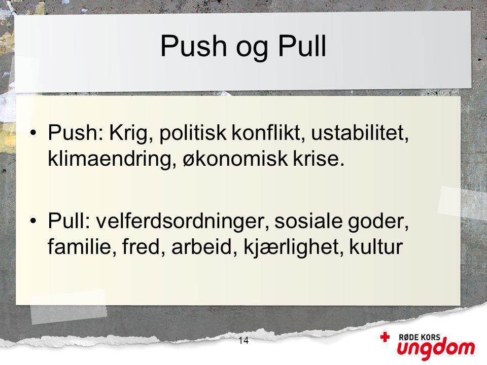 Push og Pull •Push: Krig, politisk konflikt, ustabilitet, klimaendring, økonomisk krise. •Pull: velferdsordninger, sosiale goder, familie, fred, arbei
