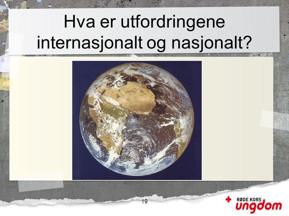 Hva er utfordringene internasjonalt og nasjonalt? 19