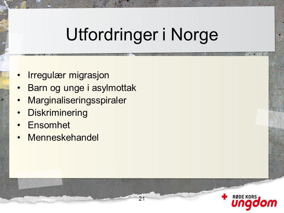 •Irregulær migrasjon •Barn og unge i asylmottak •Marginaliseringsspiraler •Diskriminering •Ensomhet •Menneskehandel Utfordringer i Norge 21