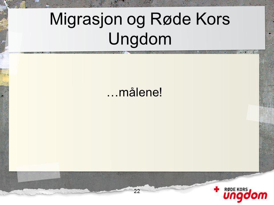 Migrasjon og Røde Kors Ungdom …målene! 22