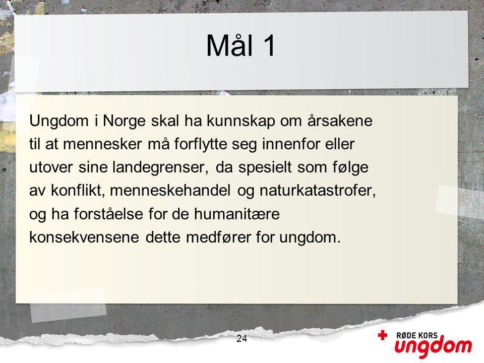 Mål 1 Ungdom i Norge skal ha kunnskap om årsakene til at mennesker må forflytte seg innenfor eller utover sine landegrenser, da spesielt som følge av konflikt, menneskehandel og naturkatastrofer, og ha forståelse for de humanitære konsekvensene dette medfører for ungdom.