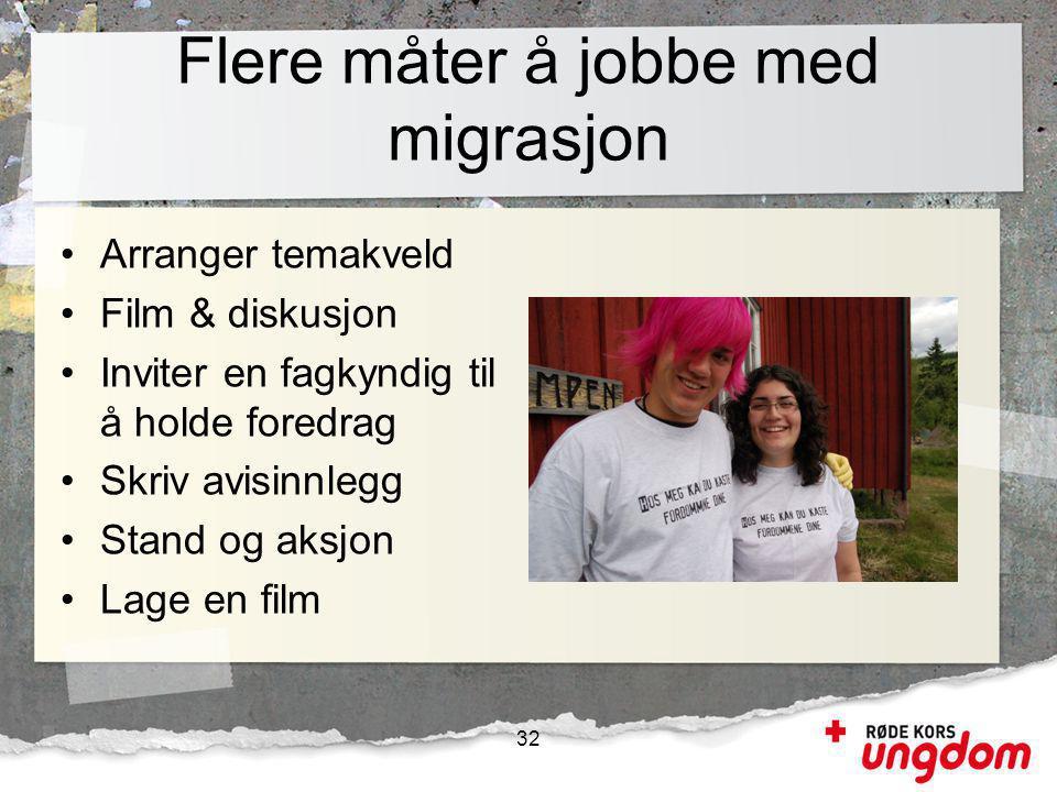 Flere måter å jobbe med migrasjon •Arranger temakveld •Film & diskusjon •Inviter en fagkyndig til å holde foredrag •Skriv avisinnlegg •Stand og aksjon •Lage en film 32