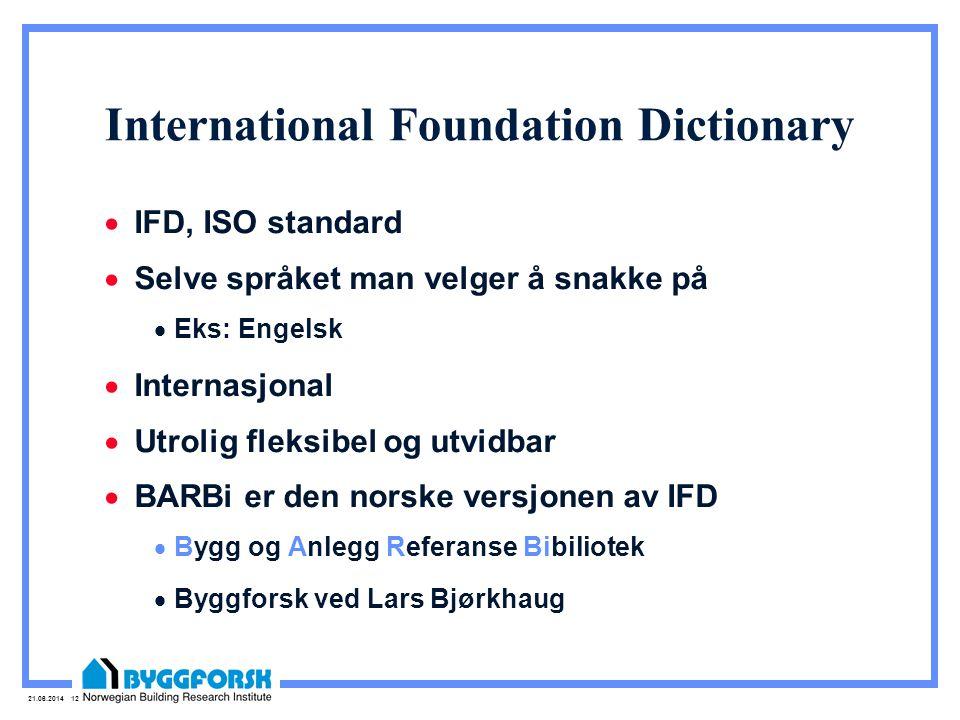 21.06.2014 12 International Foundation Dictionary  IFD, ISO standard  Selve språket man velger å snakke på  Eks: Engelsk  Internasjonal  Utrolig