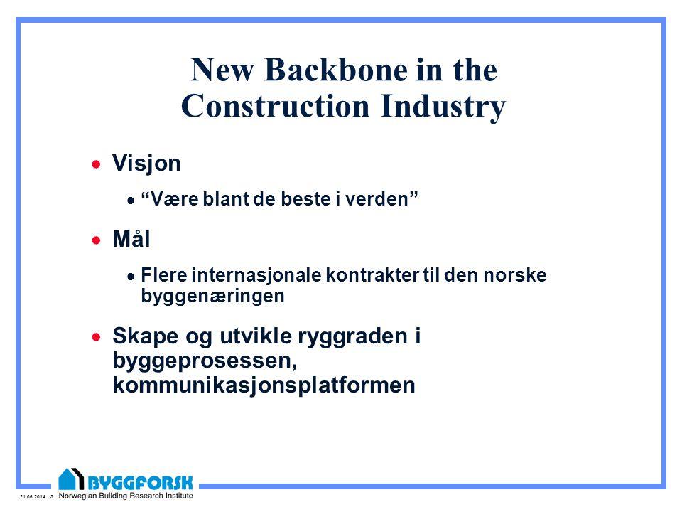 """21.06.2014 3 New Backbone in the Construction Industry  Visjon  """"Være blant de beste i verden""""  Mål  Flere internasjonale kontrakter til den norsk"""