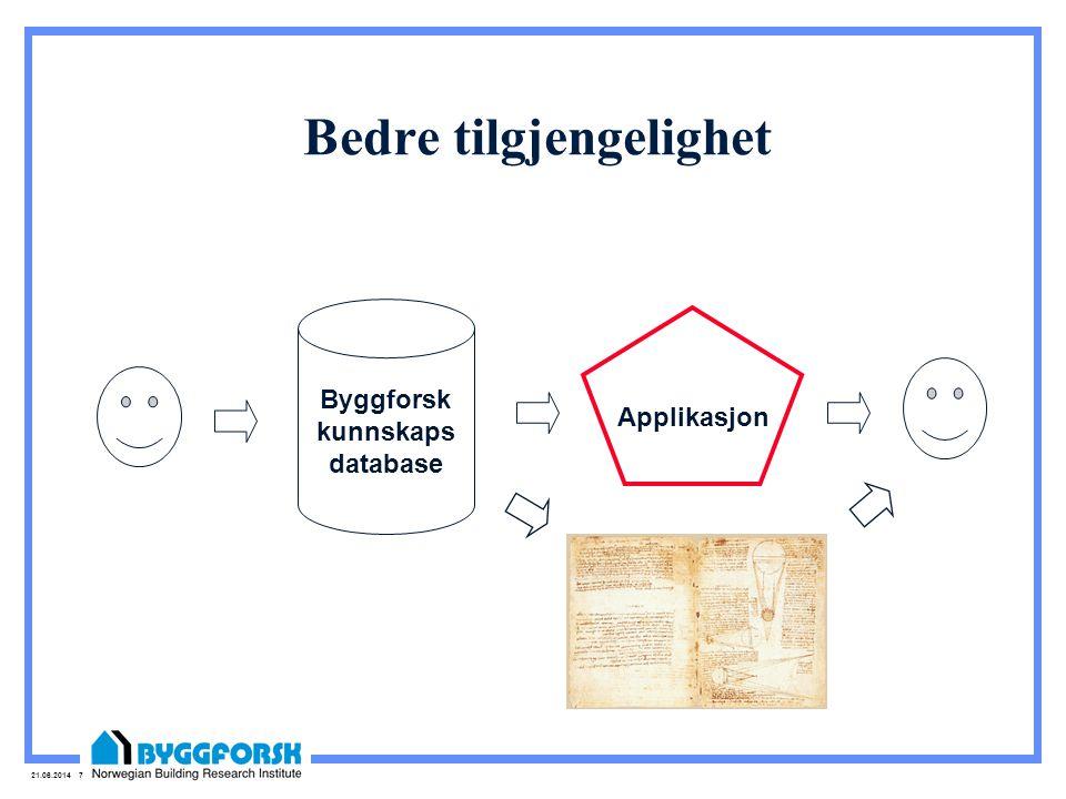 21.06.2014 7 Bedre tilgjengelighet Byggforsk kunnskaps database Applikasjon